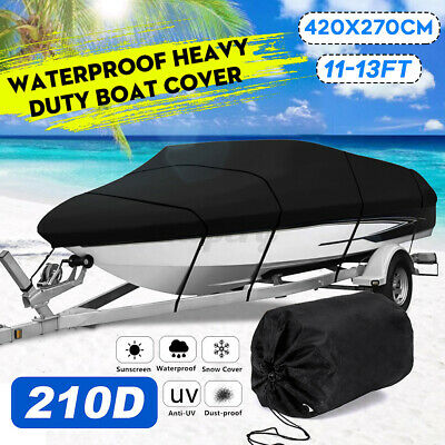 11-13ft Heavy Duty 210D Speedboat Boat Cover Waterproof Fishing V-Hull Runabouts • 30.57£