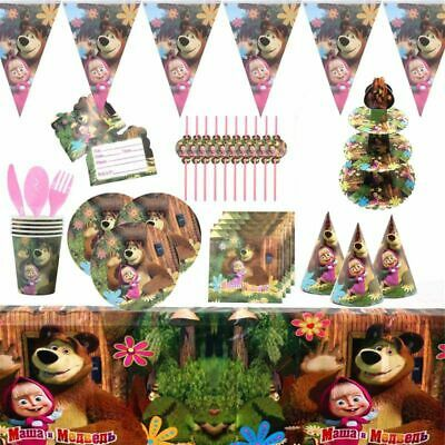 Masha And The Bear Kid Birthday Party Supply Tableware Decoration Plates Cup • 4.29£