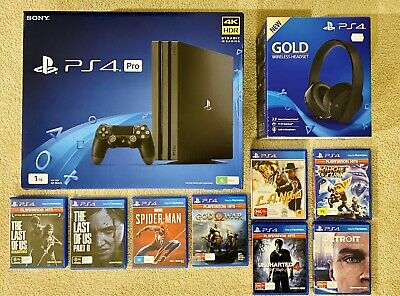 AU740 • Buy PS4 Pro, 8 Games, PS Gold Wireless Headset! LIKE NEW!