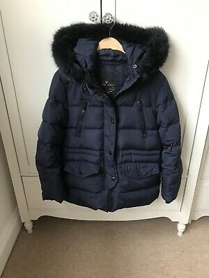 Girls Zara Navy Down Puffa Coat Jacket Fur Trim Hood Age 11-12 • 2.50£