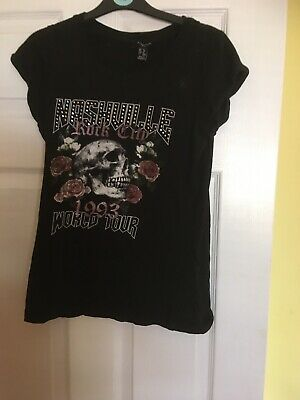 Ladies New Look Rock Chic T Shirt Size 8 • 1.50£