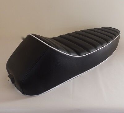 Vespa Seat Sports Seat  Style - Pe Px Lml 2 Stroke Black With White Piping • 79.95£