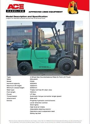 £8495 • Buy Mitsubishi FG30 Gas Forklift Hire £64.99pw Buy £8495 Or £42.42pw Container Spec