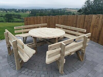 Custom Round Picnic Table Pub Quality Picnic Table Wood Treated Bench Heavy Duty • 399£