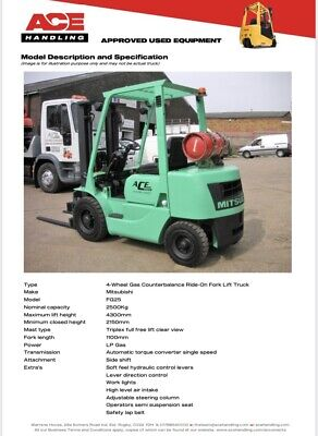 £7495 • Buy Mitsubishi FG25 Gas Forklift Hire £57.50pw Buy £7495 Or £37.43pw Container Spec