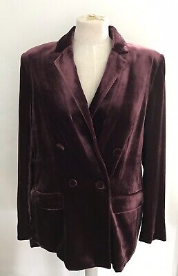 MARKS AND SPENCER AUTOGRAPH VELVET DOUBLE BREASTED BLAZER 14 New With Tags • 12.50£