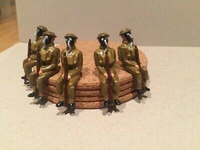 5 X Seated 54mm  British Ww2 Toy Soldiers • 5£