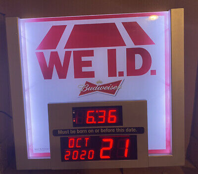 $ CDN170.96 • Buy We I.D. Light Up Sign Budweiser Beer, Man Cave Bar Sign Small Imperfection