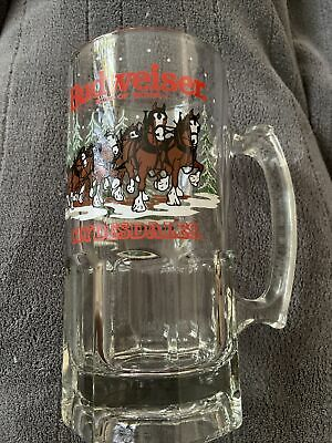 $ CDN16.83 • Buy Budweiser Clydesdale Beer Mug Holiday Stein Winter Glass Collectible 1989