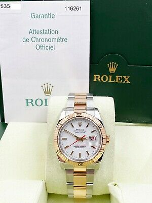 $ CDN11411.96 • Buy Rolex Datejust Turnograph 116261 White Dial 18K Rose Gold Stainless Box Papers