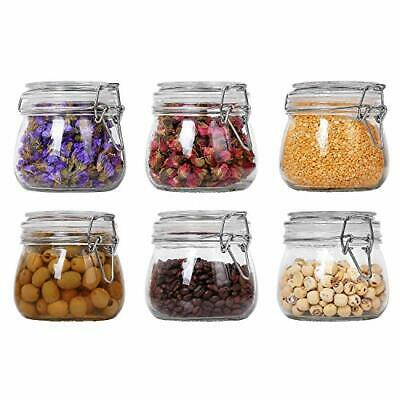 ComSaf Glass Storage Jars With Lids 500ML Food Canisters Set Of 6 - Airtight • 33.99£
