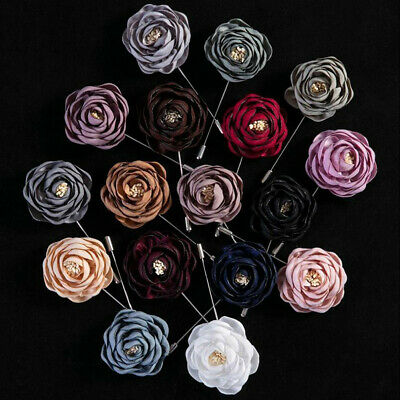 Handmade Flower Boutonniere​ Brooch Lapel Pin Accessories For Men's Suit Party • 2.39£
