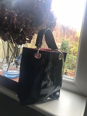 Hobbs Black Patent Leather Quilted Style Tote Grab Bag, Fantastic Condition • 13.99£
