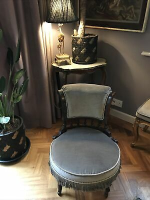 £65 • Buy Original Victorian Tub Chair Upholstered In Grey Velvet Fabric And Fringing