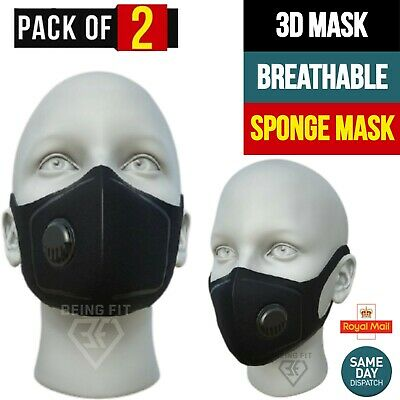 Face Mask Reusable Masks UK Washable Mouth Nose Breathable Protection Cover PPE • 3.49£