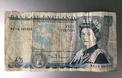 Bank Of England Old £5 Five Pound Note - Duke Of Wellington - D.H.F. Somerset • 5£