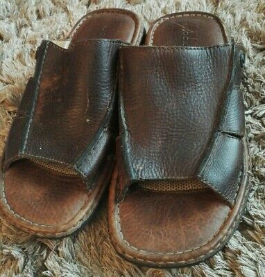 Mens Rockport Slip On Brown Leather Mules Sandals UK 8 ,Wide Fitting • 9£