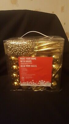 New Argos Gold Deck The Halls Baubles 100 Piece Complete With Tree Topper Star • 4£