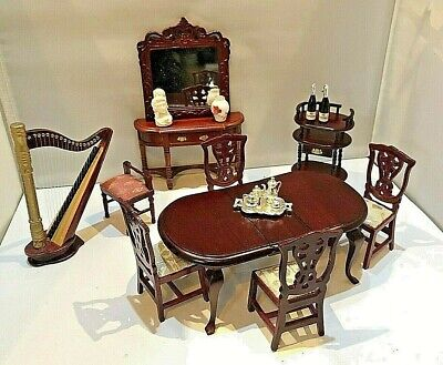 Job Lot Dolls House Dining Room Furniture Table Chairs Harp & Accessories F726 • 16£