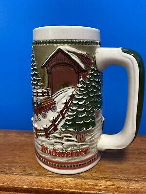 $ CDN13.09 • Buy Vintage Budweiser Stein, Clydesdales Limited Edition, Holiday Tradition 1975