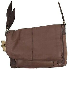 Tan Leather Satchel Bag. Four Sections. Large Enough For Laptop. Well Loved  • 8.60£