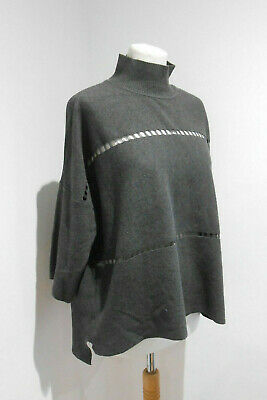 French Connection Dark Grey Knit High Neck Slouchy Cosy Jumper Top Small S VGC • 14£