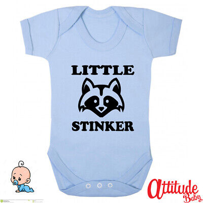 £7.99 • Buy Funny Baby Grows-Little Stinker With Skunks Head-Alternative Baby Grow-Rude Baby