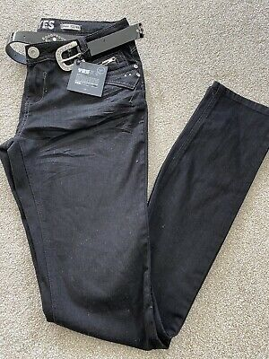 Glamorous New Look Women's Tall Skinny Belted Black Jeans UK Size 12 • 4£