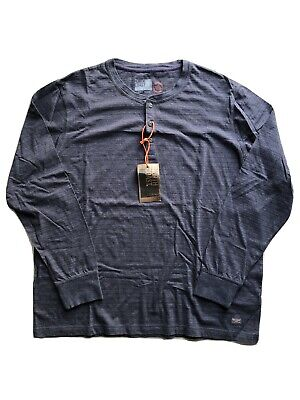 NEW Mens Marks & Spencer North Coast Navy Mix Long Sleeved Button Neck Shirt 2XL • 8.99£