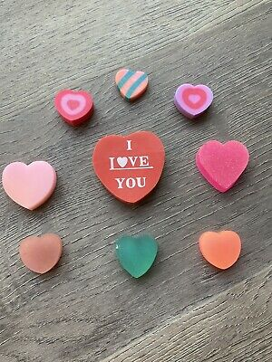 Vintage 1980s Erasers Rubbers - I Love You Heart And Various Cute Hearts • 1£