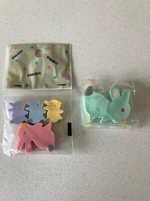 Vintage 90s Erasers Rubbers - Cute Bunny Rabbit Erasers In Original Wrapper • 2£