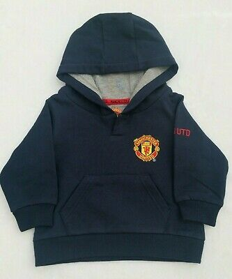 Manchester United Baby Boys Navy Hooded Sweatshirt Hoodie Age 3-6 Months • 11.99£