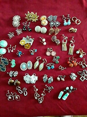 $ CDN18.06 • Buy Vintage Lot 43 Pairs Clip-on/Screw-back Earrings- Assorted Some Signed