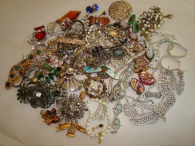 $ CDN16.45 • Buy Vintage Mod Jewelry Lot Rhinestone Crystal ETC. + Sterling Brooches