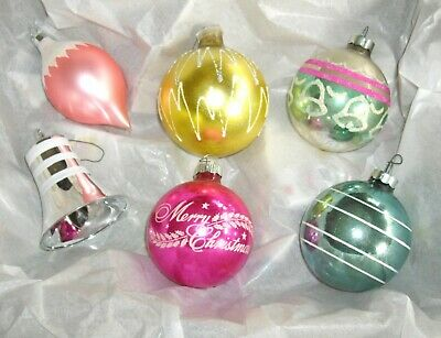 $ CDN19.81 • Buy Vintage Christmas Bulbs Shiny Brite Ornaments ~ Set Of 6 ~