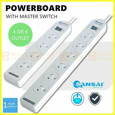 AU15.95 • Buy 4/6 Way Outlet Power Board Powerboard Sockets With Master Switch Power Point