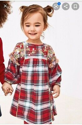 Girls Dress Red Check Embroidered Next Christmas • 3£