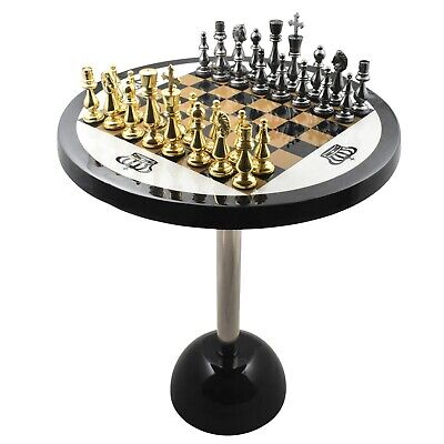 Minimalist Brass Metal Luxury Chess Pieces, Board And Table Set - 21  Tall  • 321£