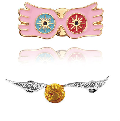 Harry Potter Luna Lovegood's Glasses Brooch Snitch Collar Pin Clothing Accessory • 3.68£