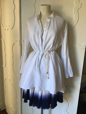 AU50 • Buy Scanlan Theodore White Linen Shirt Tunic With Bell/flared Sleeves 10