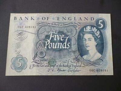 J S Fforde Five Pounds Note 1967 Duggleby Ref B314 Good Used Condition. • 15£