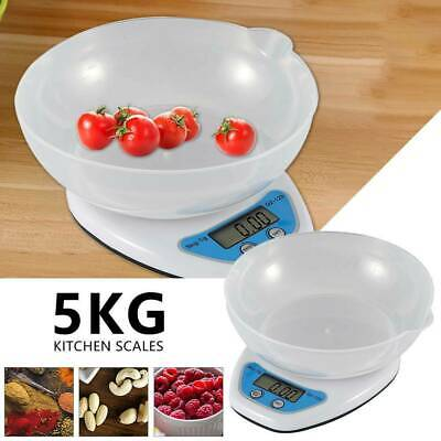 5kg Digital Kitchen Scales Lcd Electronic Cooking Food Measuring Bowl Scale Uk • 7.89£