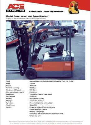 Toyota 7FBEF15 3-Forklift Hire £49.99pw Buy £6995 Or £34.83pw With No Deposit • 6,995£