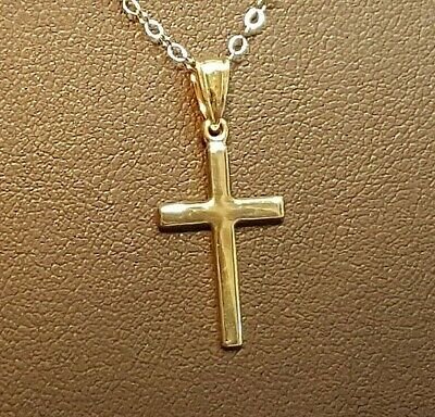 """Suitable for a man or woman Simple Solid 9ct Gold Cross /& 18/"""" Chain"""