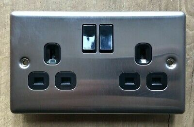 LAP 13A 2-GANG Switched Socket, Brush Stainless Steel, Black Inserts. 9183C • 4£