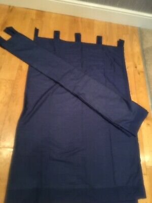 Deep Blue Tab Top Curtains Each 54 Drop By 66 Wide Fully Lined And Washable  • 3£