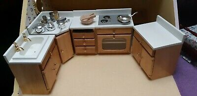 Dolls House Kitchen Units With Table And Chairs • 30£
