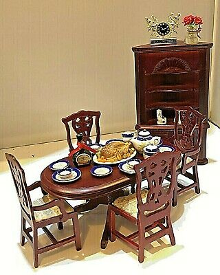 Dolls House 1/12 Dining Room Furniture & Accesories Table Chairs Cupboard D728 • 8.50£