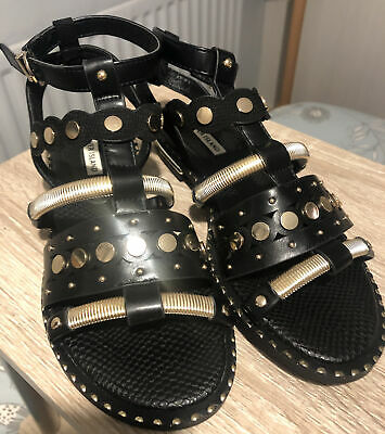 River Island Black And Gold Gladiator Sandals Size 5 • 15£