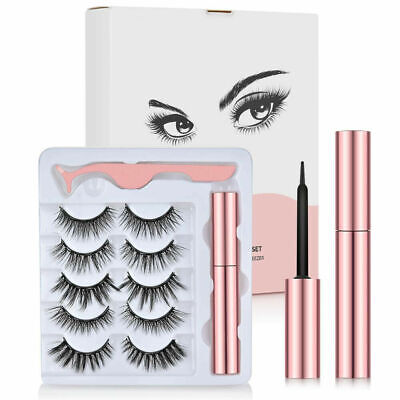 3D Mink Wispy 5 Pair Eyelashes Thick Natural Fake False Magnetic Lashes Fluffy  • 3.99£